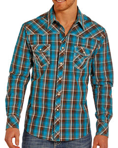 Rock & Roll Cowboy Men's Plaid Long Sleeve Shirt, Turquoise, hi-res