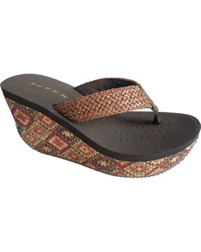 Roper Women's Aztec Cork Wedge Sandals, Brown, hi-res