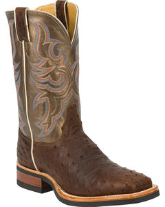Justin Full Quill Ostrich Bronze Florention Cowboy Boots - Square Toe, , hi-res