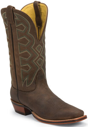 Nocona Sandlot Prosper Buffalo Let's Rodeo Western Boots - Square Toe , Brown, hi-res