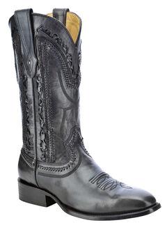 Corral Laser Cut Whip-Stitch Cowboy Boots - Square Toe, Black, hi-res
