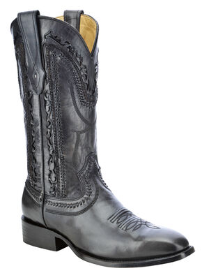 Corral Laser Cut Whip-Stitch Cowboy Boots - Square Toe, Black, hi-res
