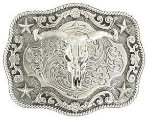 Nocona Boys' Steer Skull Buckle, Silver, hi-res