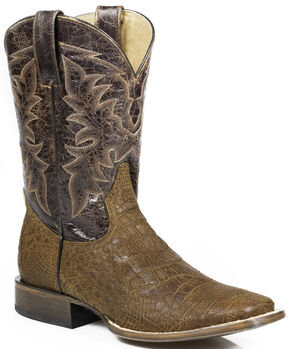 Roper Alligator Print Cowboy Boots - Square Toe, Brown, hi-res