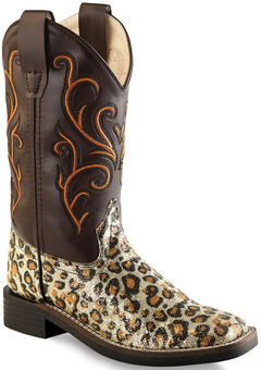 Old West Girls' Leopard Print Western Boots - Square Toe, , hi-res
