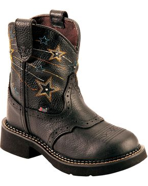 Justin Youth Girls' Gypsy Light Up Star Stitched Cowboy Boots - Round Toe, Black, hi-res