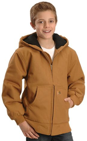 Carhartt Boys' Duck Active Jacket 4-7, Brown, hi-res