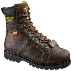 "Caterpillar 8"" Silverton Lace-Up Work Boots - Steel Toe, Dark Brown, hi-res"