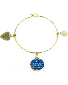 Jilzarah Aztec Blue Gold Bangle, Blue Multi, hi-res