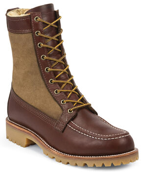 Chippewa Men's Shearling Hunting Boots - Round Toe , Tan, hi-res