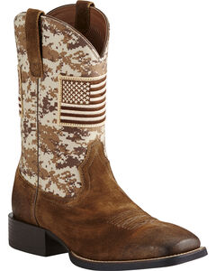 Ariat Men's Brown Camo American Flag Boots - Wide Square Toe, Brown, hi-res