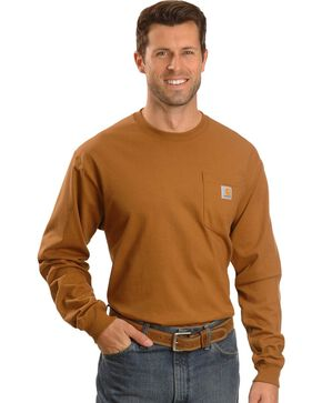 Carhartt Long Sleeve Pocket Work Shirt - Tall, Brown, hi-res