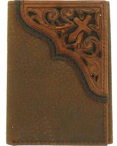 Ariat Men's Diagonal Cross Scroll Trifold Wallet , Medium Brown, hi-res