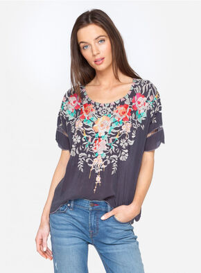 Johnny Was Women's Jenn Blouse , Grey, hi-res