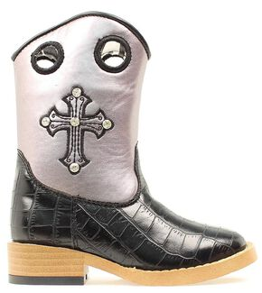 Blazin Roxx Girls' Sonora Croc Print Cowgirl Boots - Square Toe, Black, hi-res