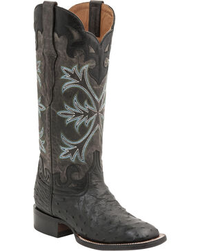 Lucchese Handcrafted 1883 Women's Rowena Full Quill Ostrich Boots - Square Toe, Black, hi-res