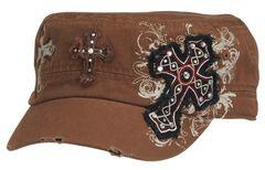 Blazin Roxx Cross Embroidered Cap, Brown, hi-res