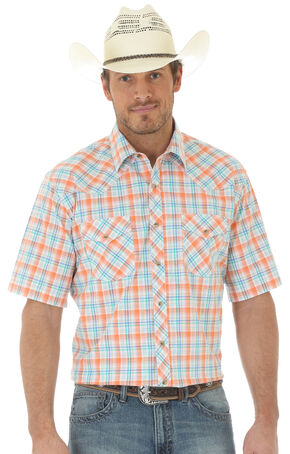 Wrangler 20X Men's Short Sleeve Plaid 2 Pocket Snap Button Shirt, Orange, hi-res