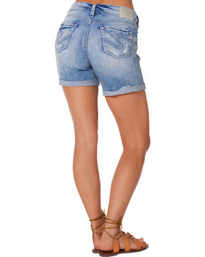Silver Women's Boyfriend Denim Shorts , Denim, hi-res