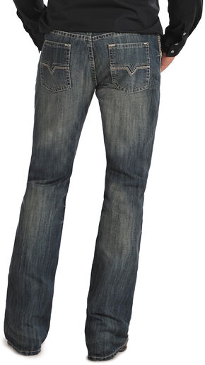 "Rock & Roll Cowboy Pistol ""V"" Pocket  Medium Wash Jeans, Med Wash, hi-res"