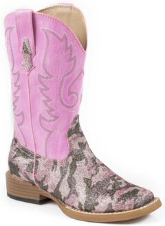 Roper Girls' Pink Camo Print Cowgirl Boots - Square Toe, , hi-res