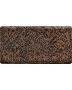 American West Women's Distressed Charcoal Brown Annie's Secret Tri-Fold Wallet , , hi-res