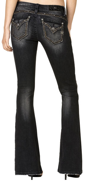 Miss Me Women's Black Flap Pocket Flare Jeans , Black, hi-res