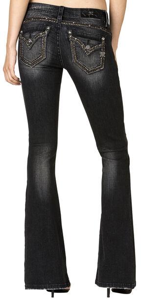 Miss Me Women's Black Flap Pocket Flare Jeans , Black, hi-res