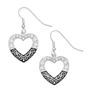 Montana Silversmiths Antiqued Silver-Tone Filigree Pave Heart Earrings, Silver, hi-res