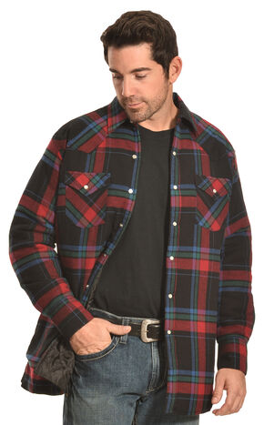 Ely Cattleman Men's Black & Red Plaid Quilted Flannel Jacket Shirt , Black, hi-res