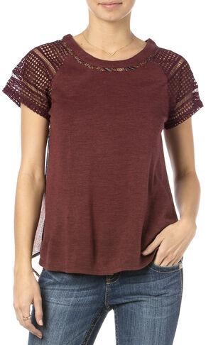 Miss Me Burgundy Print Back Crochet Sleeve Top , Burgundy, hi-res