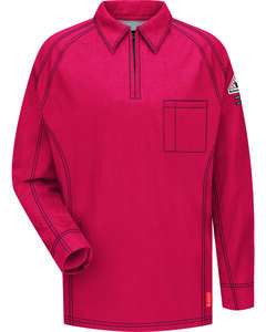 Bulwark Men's Red iQ Series Flame Resistant Long Sleeve Polo, , hi-res