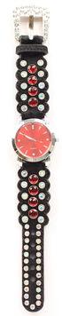 Black Hair-on-Hide Red Rhinestone Watch, Black, hi-res