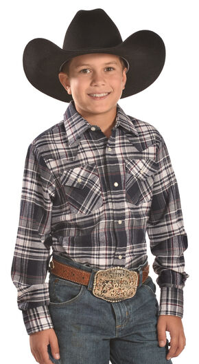 Ely Cattleman Boys' Navy Plaid Flannel Western Snap Shirt, Navy, hi-res