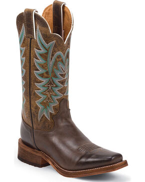 Justin Women's Guthrie Chocolate Cowboy Boots - Square Toe, Chocolate, hi-res