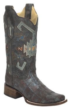Corral Vintage Aztec Lizard Patchwork Cowgirl Boots - Square Toe, , hi-res