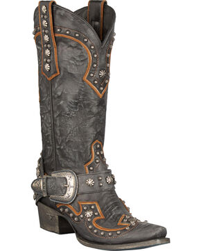 Lane Your Harness Studded Cowgirl Boots - Snip Toe, Black, hi-res