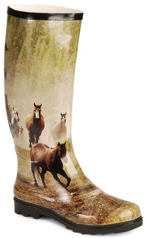 Smoky Mountain Running Horses Tall Rubber Rain Boots, Print, hi-res
