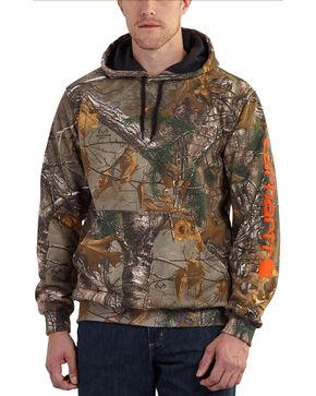Carhartt Men's Midweight Camo Sleeve Logo Hooded Sweatshirt, Camouflage, hi-res