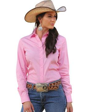 Cruel Girl Solid Button-Down Shirt, Pink, hi-res