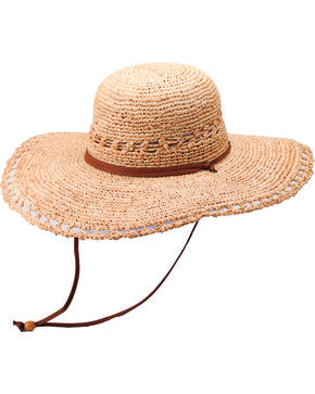 "Peter Grimm Carla 4 1/2"" Raffia Straw Sun Hat, Natural, hi-res"