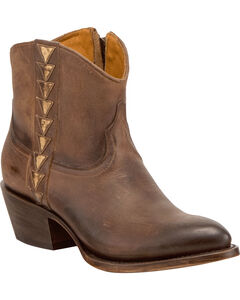 Lucchese Women's Chloe Dark Brown Goat Leather Geometric Overlay Western Booties - Round Toe, , hi-res