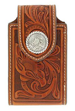 Nocona Tooled Leather Electronics Case, , hi-res