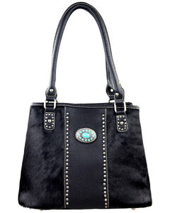 Montana West Trinity Ranch Coffee Hair-On Leather Collection Handbag, , hi-res