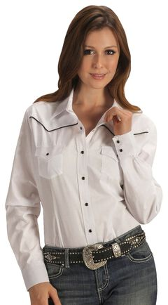Ely Solid White with Black Piping Western Shirt, , hi-res