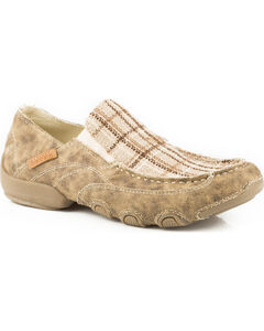 Roper Men's Tan Distressed Dougie Casual Driving Moc Shoes , , hi-res