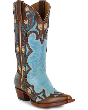 Shyanne Women's Embroidered Inlay Western Boots - Snip Toe, Turquoise, hi-res