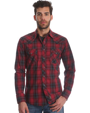 Wrangler Men's Red Retro Two Pocket Plaid Shirt - Tall , Red, hi-res