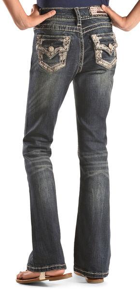 Grace in LA Girls' Embellished Flap Bootcut Jeans, Indigo, hi-res