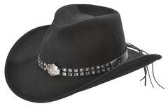 Harley Davidson Logo Concho Bend-A-Brim Wool Felt Crushable Cowboy Hat, , hi-res